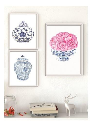 Lyn Home & Decor Çini Seri Çerçeveli Poster 3 Lü Tablo 1 Adet 23,5X33,5 2 Adet 17,5X23,5 Beyaz